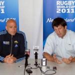 El jugador Felipe Contepomi y el Head Coach del Seleccionado, Santiago Phelan. (Foto: Prensa U.A.R.)