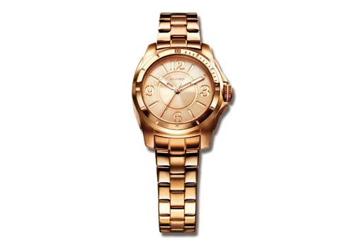 Reloj femenino con correa y caja de acero en color bronce.