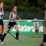 Argentina vs. Sudáfrica - Noel Barrionuevo grita su gol, uno de los tres que le dieron el triunfo a Las Leonas. (CAH/Foto: Matías Correa Arce)