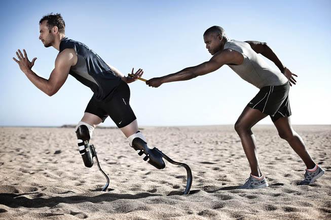 Oscar Pistorius y Carl Lewis en una producción de fotos para Nike en Punta del Este..