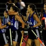 Argentina vs. Gran Bretaña - Las Leonas festejan su gol. (Foto: Matías Correa Arce)