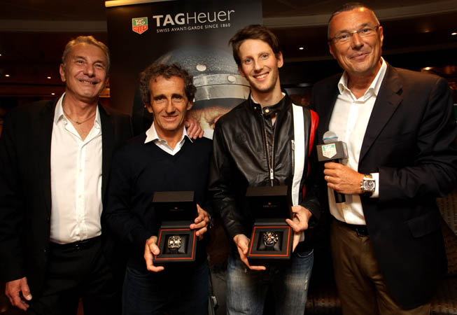 Michel Ferry, Alain Prost, Romain Grosjean y Jean-Christophe Babin.