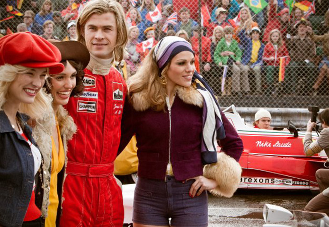 "Chris Hesmworth en James Hunt en ""Rush"""