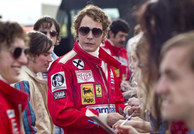 "Daniel Brühl es Niki Lauda en ""Rush""."