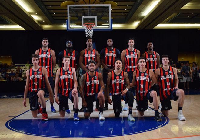 El equipo de básquet de San Lorenzo con nueva indumentaria.